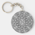 Embossed Effect Silver Gray Metal  Sand Flower Key Chain