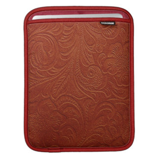 Embossed Floral Design On Brown Leather Pattern Sleeve For iPads