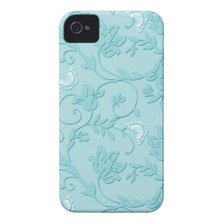 Embossed Floral Swirls and Butterflies - Sky Blue iPhone 4 Case-Mate Case
