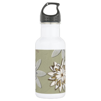 Embossed Flowers Art Water Bottle