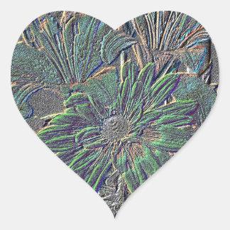 Embossed Flowers Heart Sticker