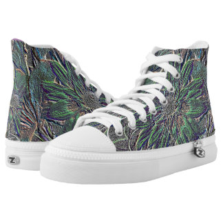 Embossed Flowers High-Top Sneakers