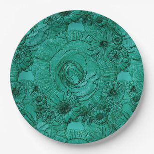 Embossed Flowers-Jade Green-PAPER PLATES  sc 1 st  Zazzle : embossed paper plates - pezcame.com