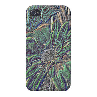 Embossed Flowers with Color Cases For iPhone 4