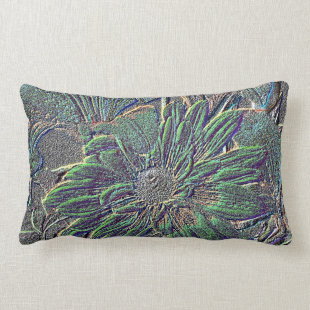 Embossed Flowers with Color Throw Pillow