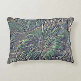 Embossed Flowers with Solid Gray Side Decorative Pillow