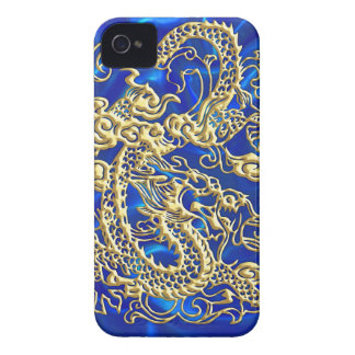 Embossed Gold Dragon Blue Satin iPhone Case