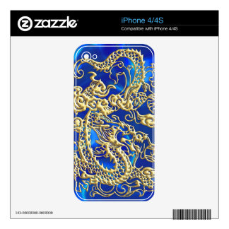 Embossed Gold Dragon Decals For The iPhone 4S
