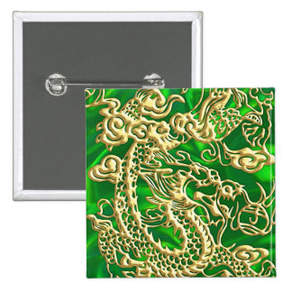 Embossed Gold Dragon Green Satin iPhone Case 2 Inch Square Button