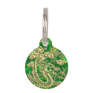 Embossed Gold Dragon Green Satin iPhone Case Pet ID Tag