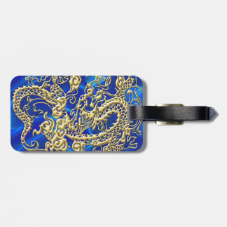 Embossed Gold Dragon Luggage Tag