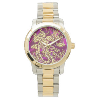 Embossed Gold Dragon Magenta Satin iPhone Case Watches