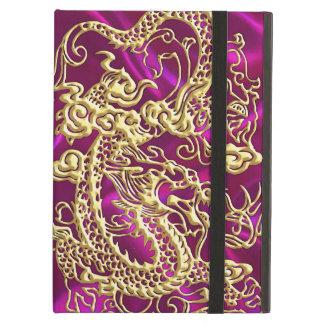 Embossed Gold Dragon Magenta Satin Print iPad Air Case