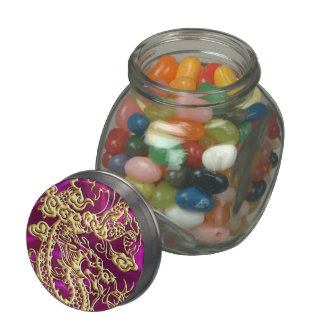Embossed Gold Dragon Magenta Satin Print Jelly Belly Candy Jar
