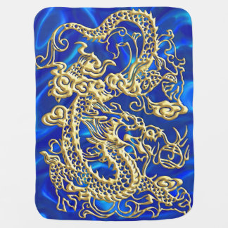 Embossed Gold Dragon on Blue Satin Baby Blankets