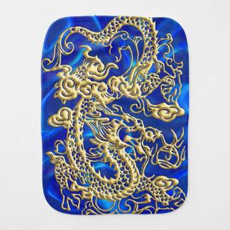 Embossed Gold Dragon on Blue Satin Baby Burp Cloth