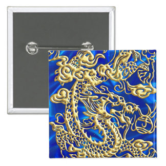 Embossed Gold Dragon on Blue Satin 2 Inch Square Button