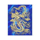 Embossed Gold Dragon on Blue Satin Stretched Canvas Print (<em>$116.95</em>)