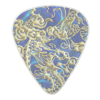 Embossed Gold Dragon on Blue Satin Pearl Celluloid Guitar Pick