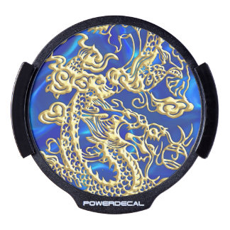 Embossed Gold Dragon on Blue Satin LED Car Decal
