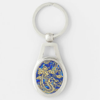 Embossed Gold Dragon on Blue Satin Keychain