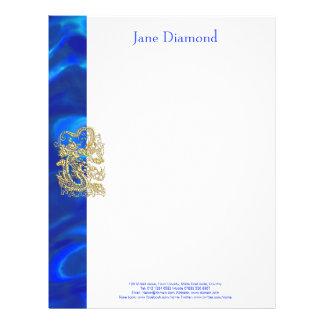 Embossed Gold Dragon on Blue Satin Letterhead
