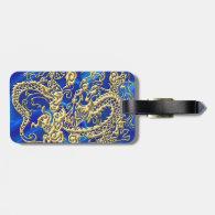 Embossed Gold Dragon on Blue Satin Luggage Tags (<em>$13.95</em>)