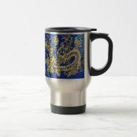 Embossed Gold Dragon on Blue Satin 15 Oz Stainless Steel Travel Mug (<em>$31.95</em>)