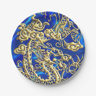 Embossed Gold Dragon on Blue Satin Paper Plate