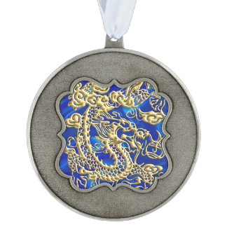 Embossed Gold Dragon on Blue Satin Pewter Ornament