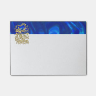 Embossed Gold Dragon on Blue Satin Post-it® Notes