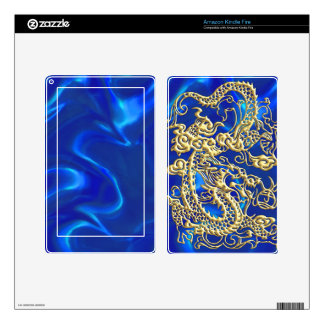 Embossed Gold Dragon on Blue Satin Print Decals For Kindle Fire