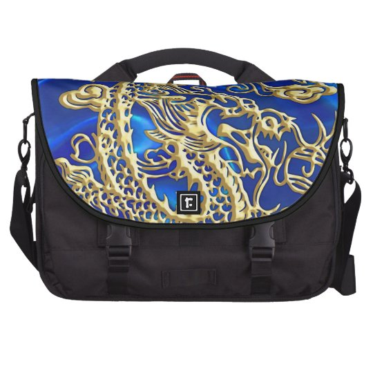Embossed Gold Dragon on Blue Satin Print Laptop Bags