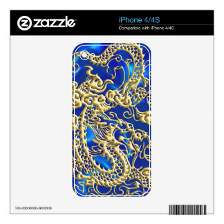 Embossed Gold Dragon on Blue Satin Print Skins For iPhone 4