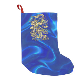 Embossed Gold Dragon on Blue Satin Small Christmas Stocking