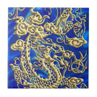 Embossed Gold Dragon on Blue Satin Small Square Tile (<em>$14.50</em>)