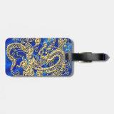 Embossed Gold Dragon on Blue Satin Tag For Bags (<em>$13.95</em>)