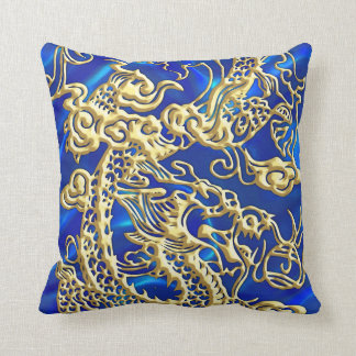 Embossed Gold Dragon on Blue Satin Throw Pillow