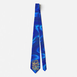 Embossed Gold Dragon on Blue Satin Tie