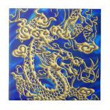 Embossed Gold Dragon on Blue Satin Small Square Tile (<em>$14.95</em>)