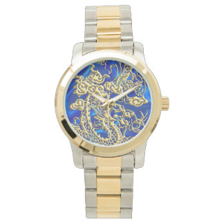 Embossed Gold Dragon on Blue Satin Watch
