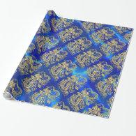 Embossed Gold Dragon on Blue Satin Wrapping Paper (<em>$21.70</em>)
