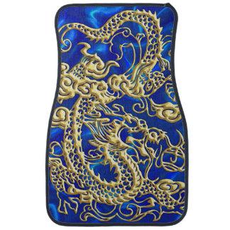 Embossed Gold Dragon on Blue Satin Car Mat