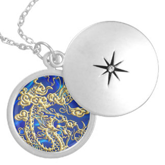 Embossed Gold Dragon on BlueSatin Print Silver Plated Necklace