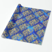Embossed Gold Dragon on BlueSatin Print Wrapping Paper (<em>$25.30</em>)