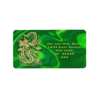 Embossed Gold Dragon on Green Satin Address Label