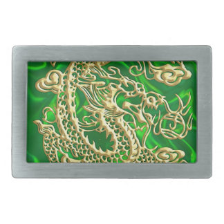Embossed Gold Dragon on Green Satin Belt Buckle