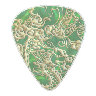 Embossed Gold Dragon on Green Satin Pearl Celluloid Guitar Pick