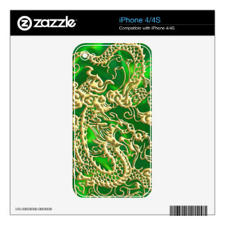 Embossed Gold Dragon on Green Satin Decals For iPhone 4