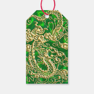 Embossed Gold Dragon on Green Satin Gift Tags